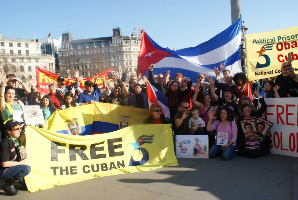 Free the Cuban 5 rally Trafalgar sq